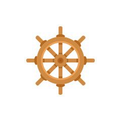 Ship, sailboat steering wheel, flat cartoon vector illustration isolated on white background. Flat cartoon vector illustration of traditional wooden ship, sailboat steering wheel