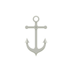 Metal sailing boat anchor, flat cartoon vector illustration isolated on white background. Flat cartoon front view illustration of metal ship, sailboat anchor