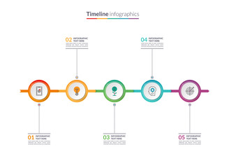 Timeline infographic concept with 5 options. Can be used for workflow layout, diagram, chart, report, presentation, web design