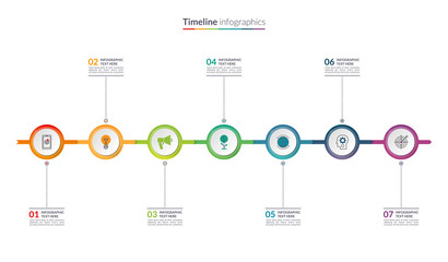 Timeline infographic concept with 7 options. Can be used for workflow layout, diagram, chart, report, presentation, web design