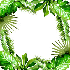 Tropical Hawaii leaves palm tree frame in a vector style. Aquarelle wild flower for background, texture, wrapper pattern, frame or border.
