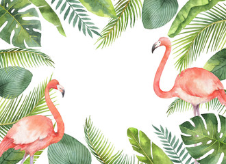 Watercolor card of tropical leaves and the pink Flamingo isolated on white background.