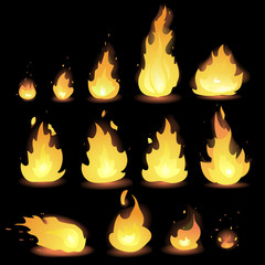 Big Vector set of different stages of fire - a small fire with sparks, blazing bright fire, dying fire, smoke. Video game, mobile application, isolated on black