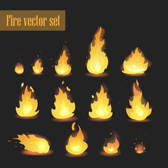 Big Vector set of different stages of fire - a small fire with sparks, blazing bright fire, dying fire, smoke. Video game, mobile application