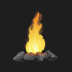 Cartoon Bonfire with stones on black background isolated vector illustration.