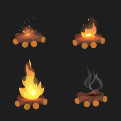 Set of cartoon Bonfires on logs on black background isolated vector illustration. Camping fire evolution