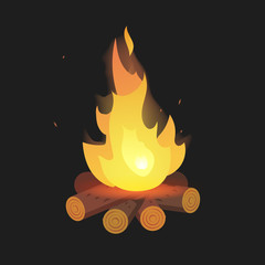 Set of cartoon Bonfire on logs on black background isolated vector illustration. Camping fire