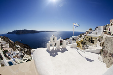 View Over Greek houses to Sea