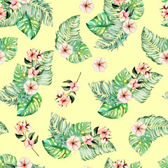 Seamless pattern with watercolor palm and monstera leaves, exotic pink flowers, hand painted on a yellow background