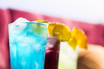 Summer three colors cocktail blue purple and green, different colors and taste
