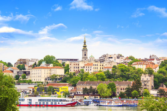 Beautiful view of the historic center of Belgrade on the banks of the Sava River, Serbia