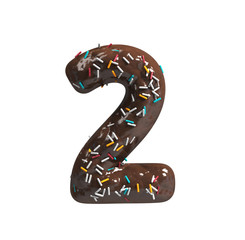 Chocolate Cake Donut Font with colorful sprinkles. Delicious Number 2. 3d rendering isolated on white background