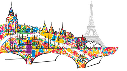 Paris Urban City Bridge and Eiffel Tower