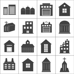 Buildings, church, electrical station, school icons set