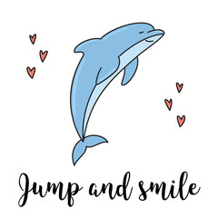 Smiling dolphin jumping isolated vector illustration