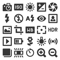 Photography Icons Set on White Background. Vector