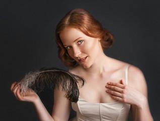 Vintage portrait of pretty woman