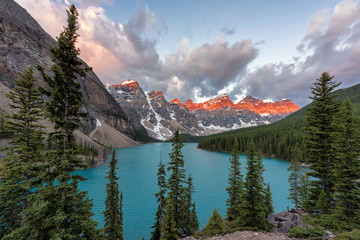 Sunrise at Moraine Lake in Banff National Park, summer early morning, Canada.
