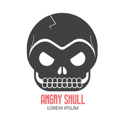 Angry human skull logo or label template in black and white. Skeleton face vector logotype or outline icon.
