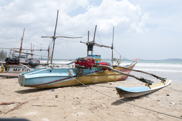 Traditional fishing boats on a beach in Sri Lanka