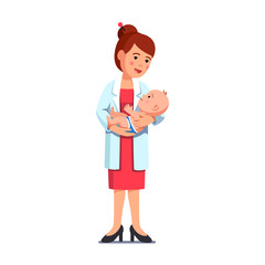 Pediatrician woman holding little baby in hands