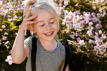 Girl enjoying herself in garden