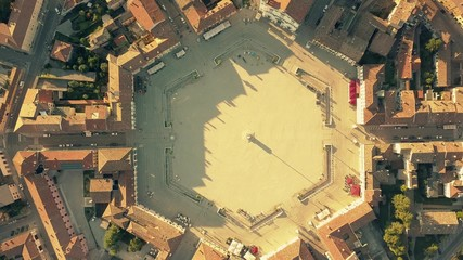Aerial top down view of the hexagonal square in the center of Palmanova, Italy