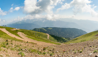 Wall Mural - panoramic view of the Caucasus Mountains in clear summer day