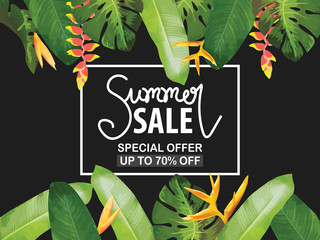 Sale banner, poster. Beautiful vector floral jungle summer background with toucan. Tropical flowers,  palm leaves, Strelitzia, leaves and plants