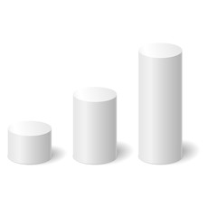 White 3D cylinders with a shadow. Vector illustration