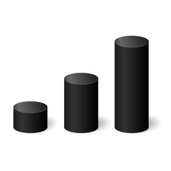 Black 3D cylinders with a shadow. Vector illustration