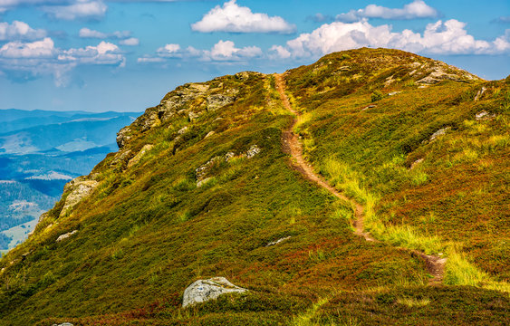 tourists footpath over the hill top