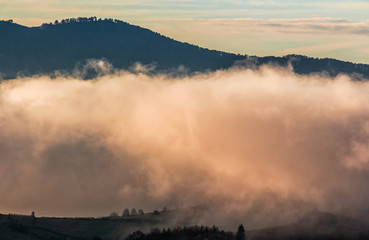 huge cloud in morning light over the valley