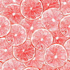 Seamless watercolor pattern with pink grapefruit slices.