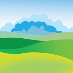 Simple Summer landscape. Image of meadow, the sky and clouds. Background for greeting cards, posters, flyers.