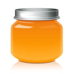 Orange Glass Jar Mock Up For Honey, Jam, Jelly or Baby Food Puree