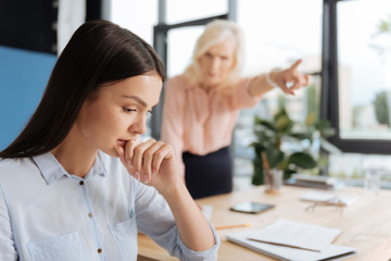 Unhappy depressed woman being fired
