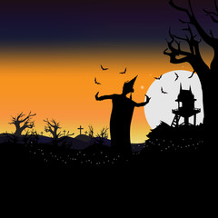 Halloween in Thai traditional style with ancient thai dance girl ghost illustration