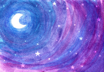 Fairy tale moon among stars at night in blue-purple watercolor background.