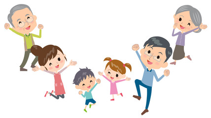 family three generations jump