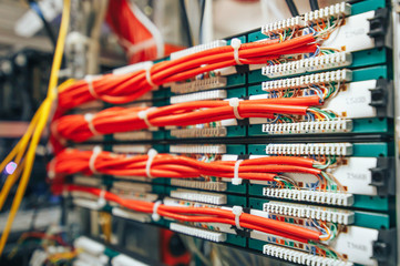 Close-up on a patch panel with orange network cables