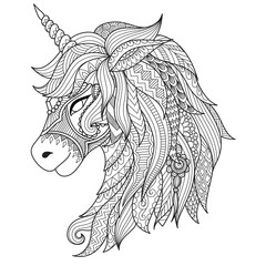 Drawing unicorn zentangle style for coloring book, tattoo, shirt design, logo, sign. stylized illustration of horse unicorn in tangle doodle style.