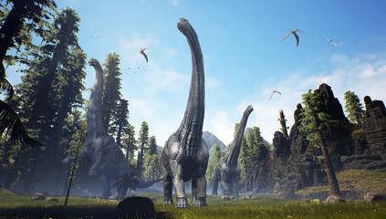 3D rendering of an Alamosaurus pack moving through a valley.