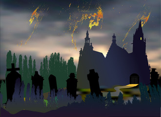 Scary halloween landscape with cemetery, tombstones, old church and silhouettes of trees. Dark night landscape with dramatic sky, clouds, chapel and graves