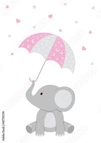 Baby Elephant Pink Baby Shower Stock Image And Royalty Free