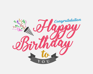 Happy birthday to you lettering banner. Vector illustration