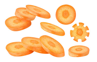Isolated slices of carrot. Collection of various carrot pieces isolated on white background with clipping path