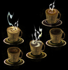 Five cups with different kinds of coffee