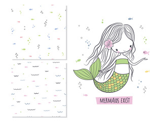 Mermaids exist. Surface design and 2 seamless patterns