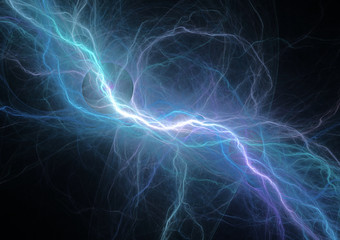 Blue electrical lightning, power and energy background
